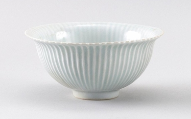 """CHINESE CELADON PORCELAIN PERSIMMON BOWL With flared rim and gently ribbed sides. Height 3"""". Diameter 5.5""""."""