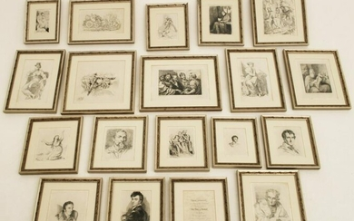 COLLECTION OF 19 ANTIQUE ETCHINGS PRESENTED TO THE DUKE