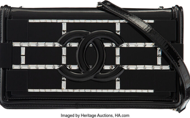 Chanel Limited Edition Black Patent Leather, Plexiglass, & Crystal...
