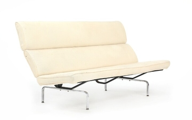 """Charles Eames, Ray Eames: """"Compact"""". Sofa with black-lacquered and chromed steel frame, upholstered with light..."""