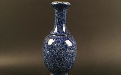 Chinese Blue Glazed Porcelain Vase, Qianlong Mark
