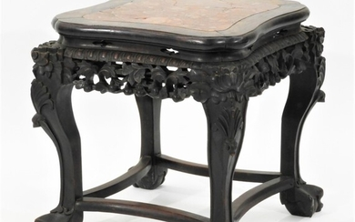 Chinese Carved Hardwood Pudding Stone Table