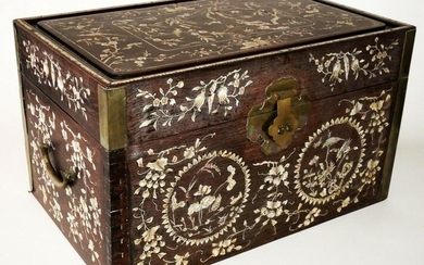 Chinese Hardwood Storage Chest MoP Inlay Birds Flower