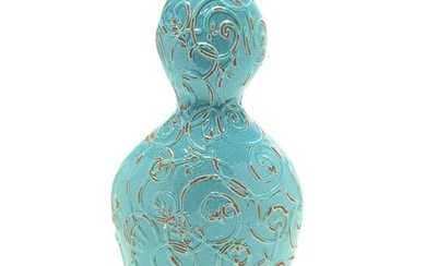 Chinese Ming Blue Glazed Double Gourd Pottery Vase.