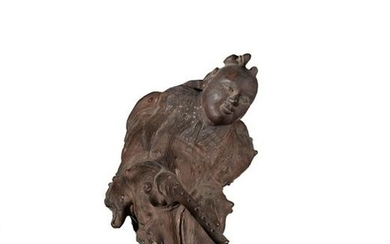 Chinese Root Carving of Boy with Flute, 19th Century