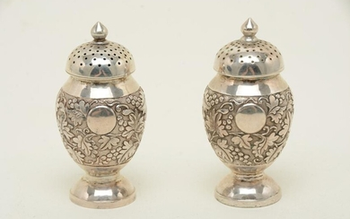 Chinese export silver pepper shakers, pair, marked