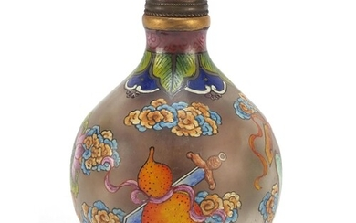Chinese glass snuff bottle hand painted with Daoist emblems,...
