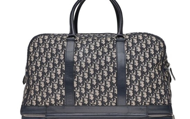 Christian Dior - Sac Week-end Collector en toile monogram oblique et cuir bleu avec double fond Weekend bag
