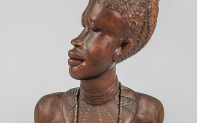 Collectible African Art Wood Bust Lady