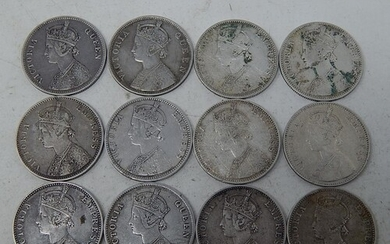 Collection of Queen Victoria Indian Silver Rupees 1862(2), 1...