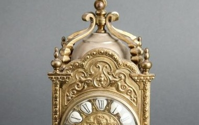 Continental Bronze Carriage Style Clock w Lion
