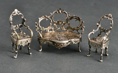 Continental Silver Parlor Furniture Miniatures, 3