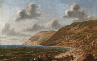 Danish painter, 19th century: Coastal view with a woman looking across the sea. Signed with monogram. Oil on canvas. 33×43.5 cm.