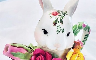 Decorative Hand Painted Floral Porcelain Bunny