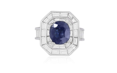 Description A SAPPHIRE AND DIAMOND COCKTAIL RING The cushion-shaped...
