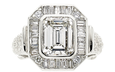 Diamond, White Gold Ring The ring features an emerald-cut...