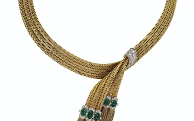 EMERALD, DIAMOND AND GOLD 'SERGE FABRIC' NECKLACE, VAN CLEEF & ARPELS