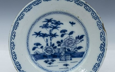 ENGLISH DELFT B&W FAIENCE CHINOISERIE PLATE