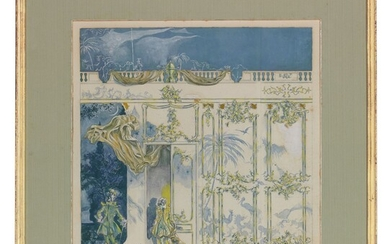 English School, c. 1930, Costume Design for a Rococo stage set with two figures and a greyhound in the foreground