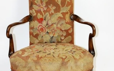 English floral tapestry upholstered armchair