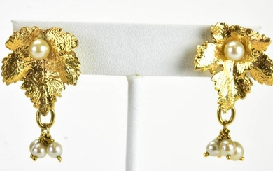 Estate 14kt Yellow Gold & Pearl Cluster Earrings