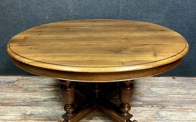 Extendable table Napoleon III period in solid walnut with blond patina - Walnut - Mid 19th century