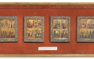 FOUR ICONS OF THE TWELVE MAJOR FEASTS OF THE ORTHODOX CHURCH AND SELECTED SAINTS, MOSCOW, POSSIBLY STROGANOV SCHOOL, 16TH CENTURY