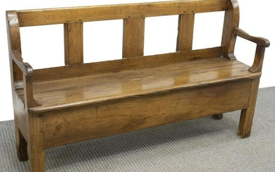 FRENCH PROVINCIAL RUSTIC OAK BENCH