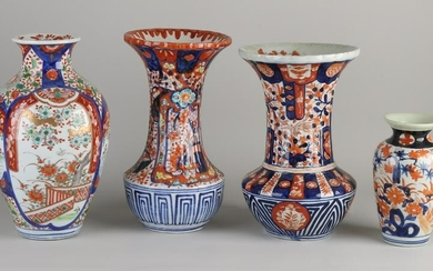 Four 19th century Japanese Imari porcelain vases with