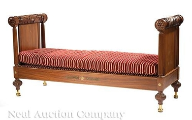 French Brass-Mounted Carved Mahogany Lit de Repos