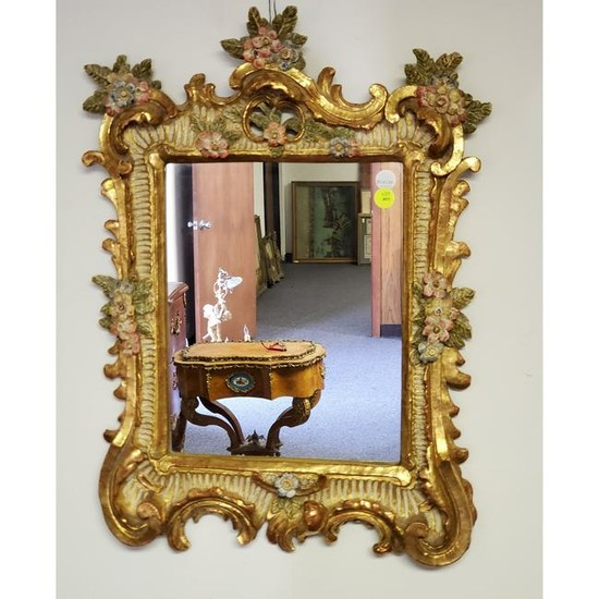 French Carved Wood and Hand Painted Mirror