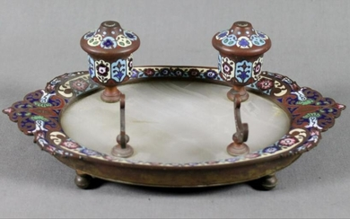 French Champleve And Bronze Inkwell