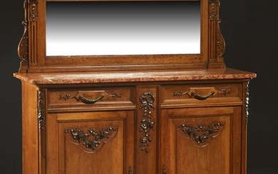 French Louis XVI Style Carved Walnut Marble Top