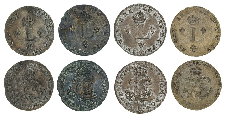 French New World. Louis XV (1715-1774). Quartet of contemporary counterfeit Sou Marque (Double...