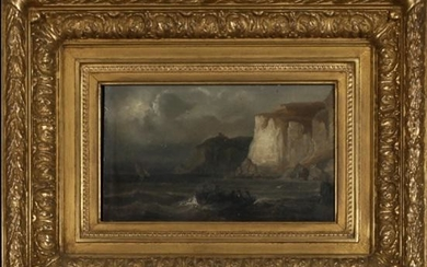 "French School, ""Boats Near the Cliffs,"" 19th c., oil on"