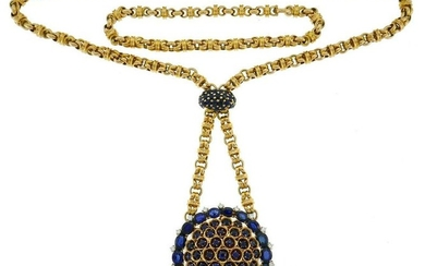 GUBELIN Retro Diamond Sapphire Gold NECKLACE with Watch