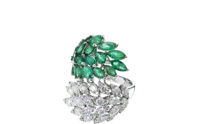 Gold ring 'leaves' with diamonds and emeralds