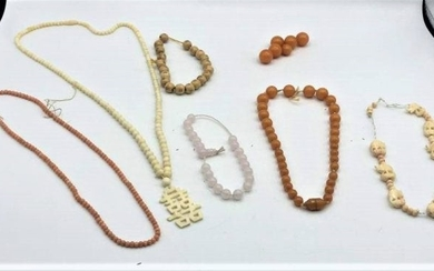 Group Lot Necklaces Inc. Amber Beads, Carved Elephants