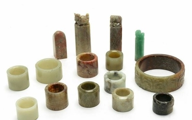Group of Chinese Jade Accessories