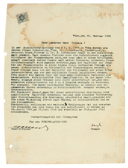 "HERZL | letter signed (""Herzl"") as Chairman of ""Committee of Five"", 1903"