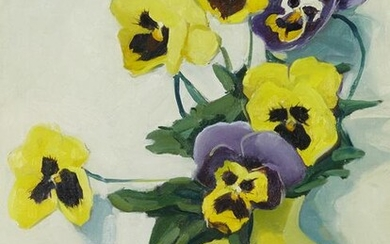 Jane Peterson, Pansies in a Yellow Vase