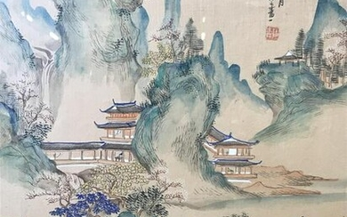Japanese Style Landscape Painting on Silk