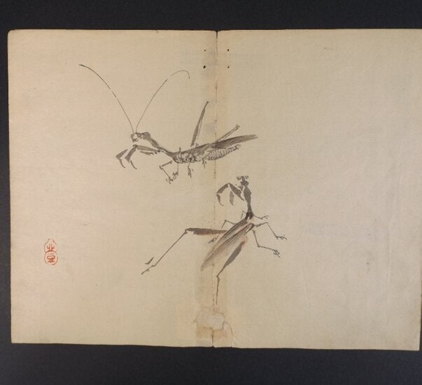 Kazan Watanabe, Praying Mantis 1stPrint 1911 woodblock