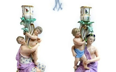 Large Pair of 19th C. Meissen Figural Candle Holders