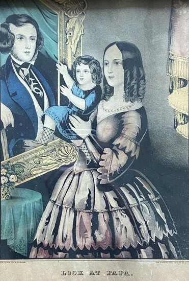 """""""Look At Papa"""", Currier & Ives Lithograph"""