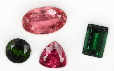 Lot 4 loose tourmalines total approx. 22.0...