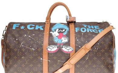 Louis Vuitton - Customized Keepall 55 strap Monogram'Popeye' by PatBo Weekend bag