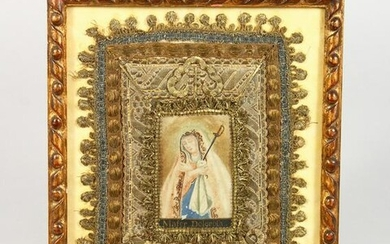 MATER DECOROSA, A 19TH CENTURY METAL THREAD AND PAINTED