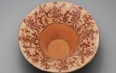 """MOCHE PAINTED """"FLORERO"""" VESSEL WITH TL"""