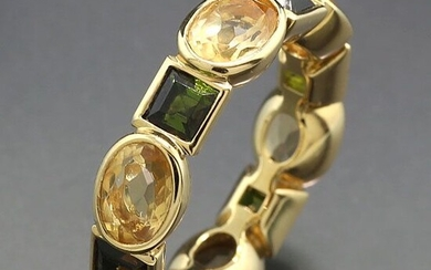 Moderner Eternityring - 18 kt. Yellow gold - Ring - 5.92 ct Tourmalines in green and citrine alternation of square and oval cut
